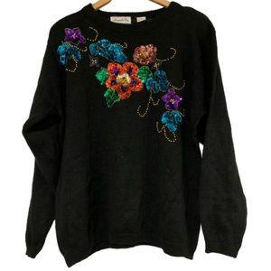 Vintage Margules Plus sequin floral black sweater